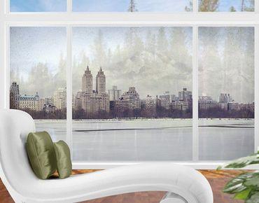 Fensterfolie - XXL Fensterbild No.YK2 New York im Schnee - Fenster Sichtschutz