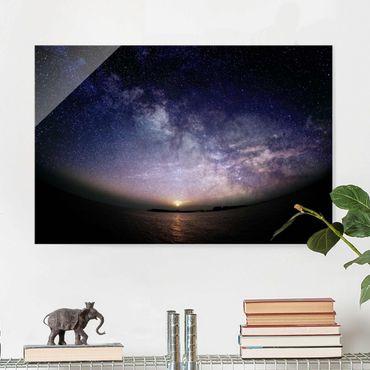 Glasbild - Sonne und Sternenhimmel am Meer - Querformat 2:3
