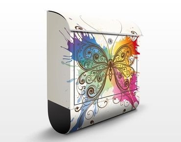 Briefkasten mit Zeitungsfach - Aquarell Schmetterling - Wandbriefkasten