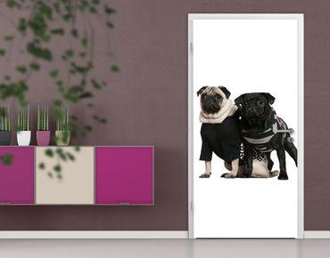 "Fototapete Tür - Papier No.38 ""POSH PUG DOGS"" 100x210cm"