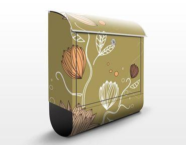 Briefkasten mit Zeitungsfach - Art Nouveau Flower - Briefkasten Blumen