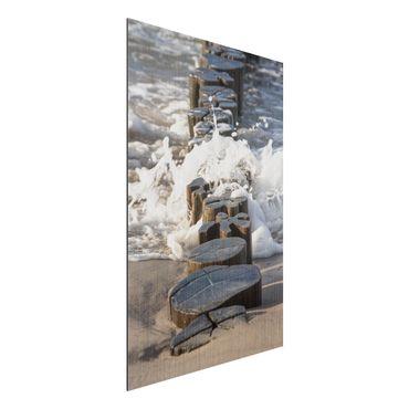 Aluminium Print gebürstet - Wellenbrecher am Strand - Hochformat 3:2