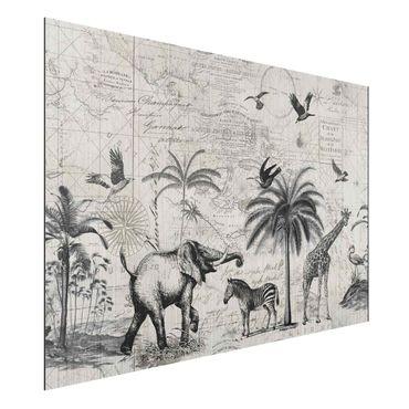 Aluminium Print gebürstet - Vintage Collage - Exotische Landkarte - Querformat 2:3