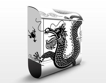 Wandbriefkasten - Asiatischer Drache - Briefkasten Schwarz