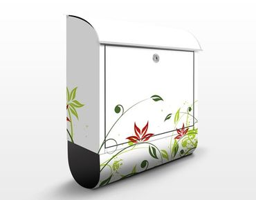 Briefkasten mit Zeitungsfach - April - Blumen Bunt