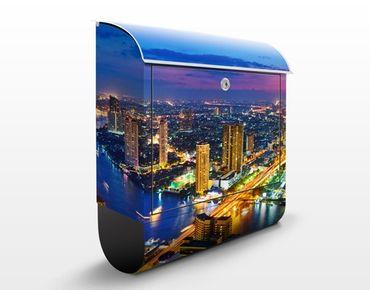 Briefkasten mit Zeitungsfach - Bangkok Skyline - Wandbriefkasten