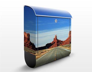 Briefkasten mit Zeitungsfach - Colorado-Plateau - Hausbriefkasten Blau