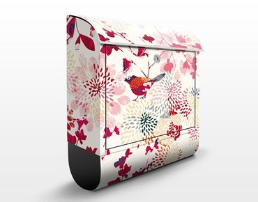 Briefkasten mit Zeitungsfach - Fancy Birds - Briefkasten Blumen