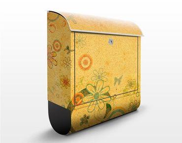 Briefkasten mit Zeitungsfach - Fantasia - Blumen Bunt