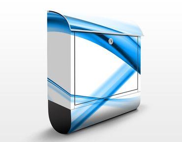 Briefkasten mit Zeitungsfach - Blue Element No.2 - Modern Blau