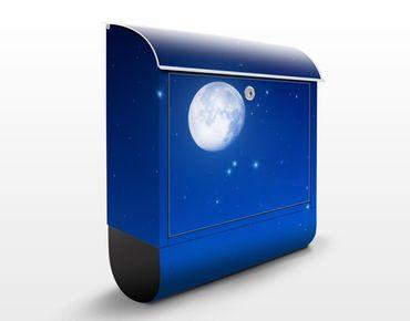 Wandbriefkasten - Wunsch bei Vollmond - Briefkasten Blau