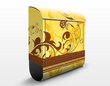 Briefkasten mit Zeitungsfach - Cherry Blossom II - Wandbriefkasten Gelb