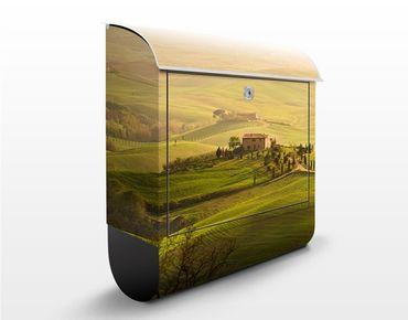 Briefkasten mit Zeitungsfach - Chianti Toskana - Hausbriefkasten Grün