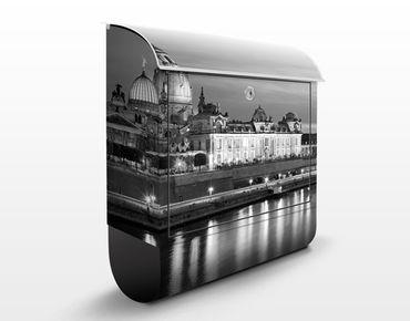 Briefkasten - Dresden Canaletto Blick bei Nacht II - Wandbriefkasten Grau