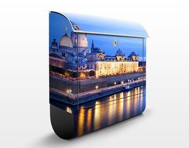 Briefkasten mit Zeitungsfach - Dresden Canaletto-Blick bei Nacht - Wandbriefkasten