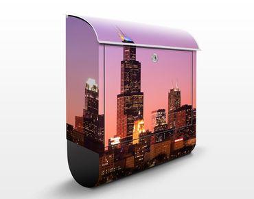 Briefkasten mit Zeitungsfach - Chicago Skyline - Wandbriefkasten