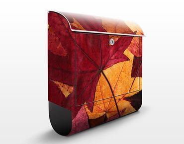 Wandbriefkasten - Coloured Leaves - Briefkasten Rot