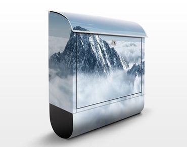 Briefkasten mit Zeitungsfach - Die Alpen über den Wolken - Hausbriefkasten Blau