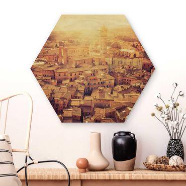 Hexagon Bild Holz - Fiery Siena