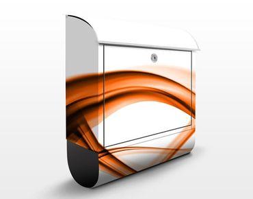 Briefkasten mit Zeitungsfach - Orange Element - Briefkasten modern