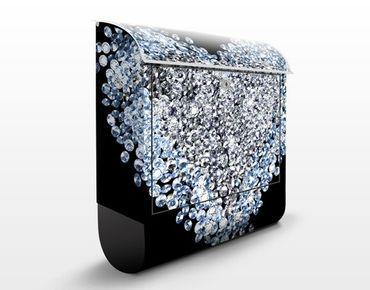 Wandbriefkasten - Diamant Herz - Briefkasten Schwarz