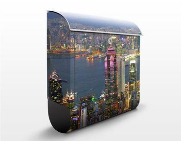 Briefkasten mit Zeitungsfach - Hong Kong Skyline - Wandbriefkasten