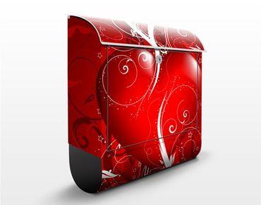 Wandbriefkasten - Floral Heart - Briefkasten Rot