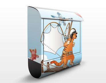 Wandbriefkasten - Fliegender Bauernhof Katze unterwegs - Briefkasten Bunt