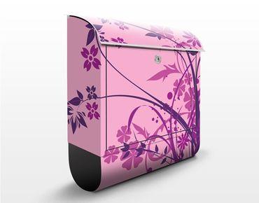 Briefkasten mit Zeitungsfach - Florales Ornament - Blumen Rosa, Pink