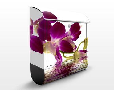 Design Briefkasten - Pink Orchid Waters - Wandbriefkasten Lila