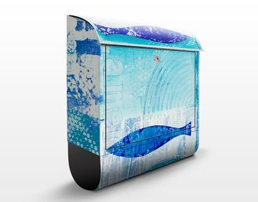Briefkasten mit Zeitungsfach - Fish in the blue - Modern Blau