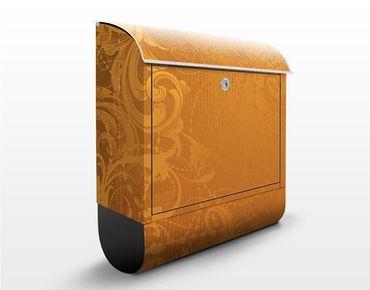 Briefkasten mit Zeitungsfach - Goldener Barock - Wandbriefkasten Gelb