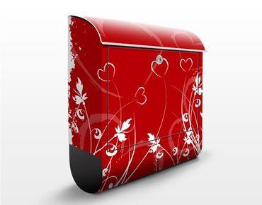 Briefkasten Rot mit Zeitungsfach - Hearts of Flower - Wandbriefkasten
