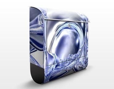 Briefkasten mit Zeitungsfach - Liquid Smoke - Modern Blau