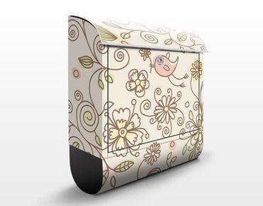 Briefkasten mit Zeitungsfach - Birds and Flowers - Briefkasten Blumen