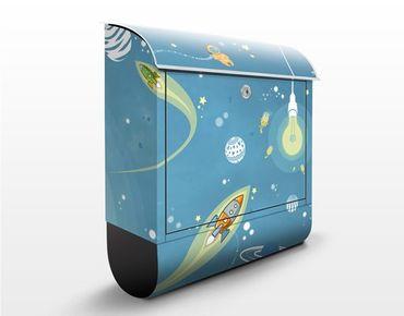 Wandbriefkasten - No.MW16 Buntes Weltraumtreiben - Briefkasten Blau