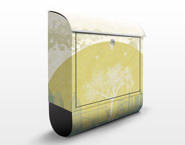 Briefkasten mit Zeitungsfach - No.MW18 Evolution - Wandbriefkasten Gelb