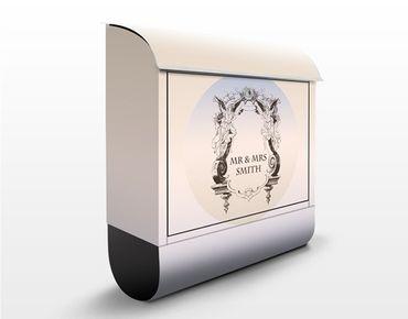 Briefkasten mit Zeitungsfach - No.EK412 Wunschtext Antique Rahmen