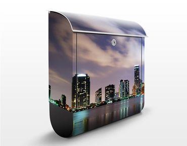 Briefkasten mit Zeitungsfach - Miami bei Nacht - Wandbriefkasten