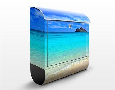 Briefkasten mit Zeitungsfach - Paradise Beach - Hausbriefkasten Blau
