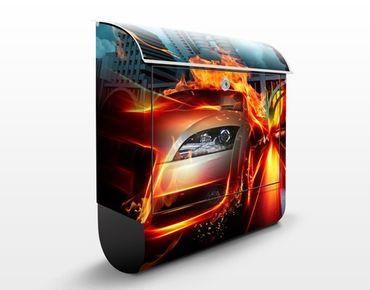 Design Briefkasten Brennender Asphalt - Briefkasten Orange