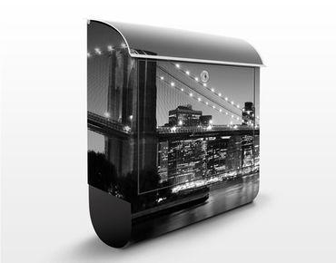 Briefkasten mit Zeitungsfach - Brooklyn Brücke in New York II - Wandbriefkasten Grau