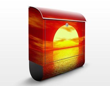 Briefkasten mit Zeitungsfach - Fantastic Sunset - Hausbriefkasten Orange Rot