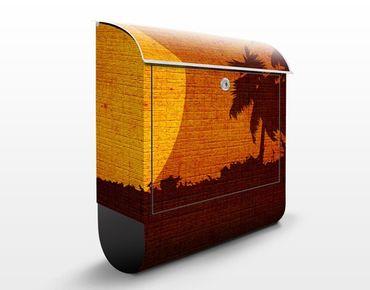 Briefkasten mit Zeitungsfach - Sunrise Indochina - Hausbriefkasten Orange