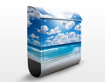 Briefkasten mit Zeitungsfach - Touch of Paradise - Hausbriefkasten Blau