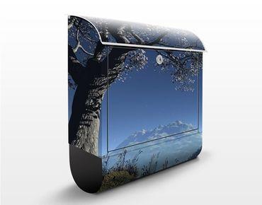 Briefkasten mit Zeitungsfach - Winter Fairytale - Hausbriefkasten Blau