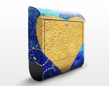 Wandbriefkasten - Heart of Gold - Briefkasten Blau
