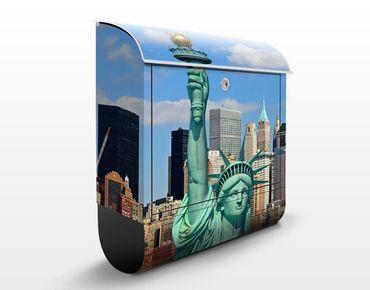 Briefkasten mit Zeitungsfach - New York Skyline - Wandbriefkasten