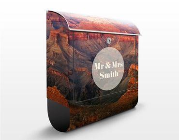 Briefkasten mit Zeitungsfach - Wunschtext Grand Canyon nach dem Sonnenuntergang