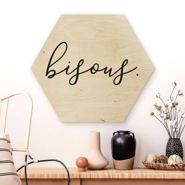 Hexagon Bild Holz - bisous